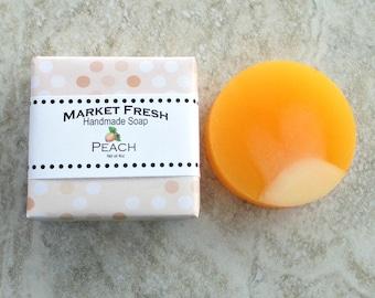 Peach Market Fresh Handmade Soap, Gentle soap recipe, round soap, realistic fruit fragrance