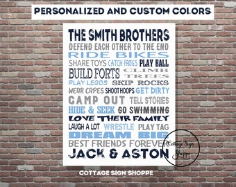 Brothers Personalized Art, Brothers Sign, Personalized Brothers Art, DIY PRINTABLE, YOU Print, Custom Colors, Brothers Custom Wall Art