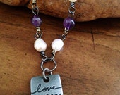 Inspirational necklace, amethyst and pearls, handmade jewelry