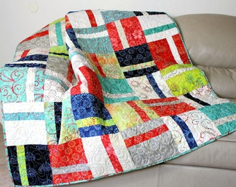 Quilted Batik Sofa Throw, Modern Lap Quilt in Cherry, Teal, Navy Blue, Lime Green, Fog Gray, Ivory and Rainbow