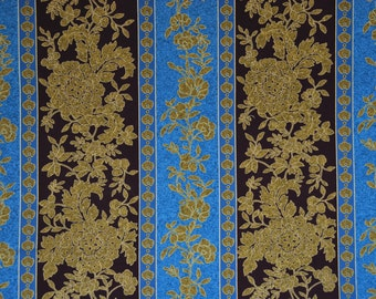 1 Yard Blue and Gold Floral Stripe Print 2009