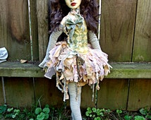 Shredded Deconstructed Urchin Pixie Vintage Fabric Set BJD SD13 Dollstown Kaye Wiggs Outfit Fashion Dress Fits