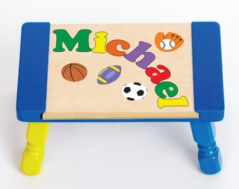 Custom Name Puzzle Sports Theme Puzzle Step Stool...Educational puzzle stool for a preschool toddler children to learn their name & colors.