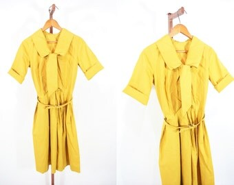 1960s shirt dress | 60s mustard yellow ascot dress | vintage button down dress | W 25""