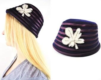 1960s hat vintage 60s Glenover ribbon leaf decal wool bucket hat