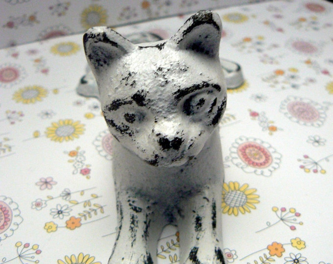 Cat Door Stop Cast Iron Shabby Chic White Kitty Kitten Doorstop Prop Home Decor