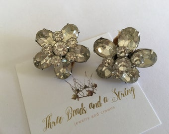 Vintage Rhinestone Flower Clip On Earrings