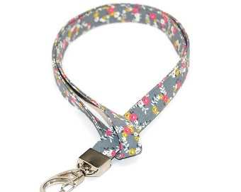 Grey and Pink Floral Lanyard  Great for a ID Badge Holder Name Tag or Keys
