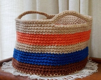 Storage Basket Storage Bin Crochet Basket Organizer Stripe Large Basket Handles Orange Blue Brown