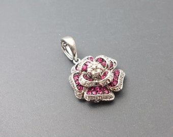 14K White Gold Rose Red Ruby And Diamond Pendant