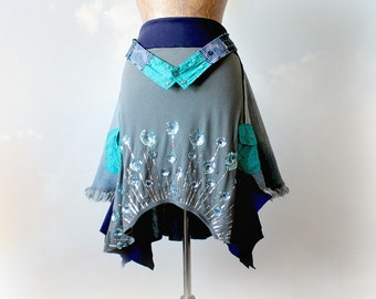 Peacock Print Upcycled Skirt Stretch Waist layered Lagenlook Bohemian Skirt Draped Flowing Unique Clothing Art To Wear Eco Fashion M 'JACLYN
