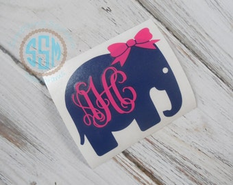 Elephant with Bow Vinyl Decal DIY Decal Auto Stitcker Decal