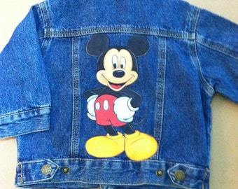 Ready to ship.....Special Price...Custom Disney Mickey jean jacket size 12 months boy or girl