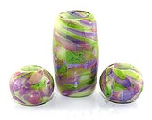 Big Hole Glass Beads, 3pc Lime, Purple and Pink Swirled Murano Glass Beads, Made to Order, Bims Bangles