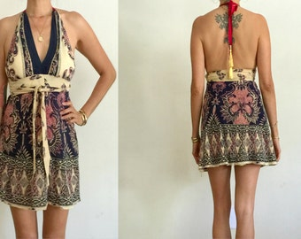 Vintage UPCYCLED Cream Navy India Ethnic Cotton Floral Print Triangle Halter WRAP Mini Dress SM