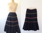 1950s skirt / 1950s folk skirt / La Milpa skirt
