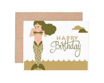 Boxed Cards - Mermaid Birthday Letterpress Greeting Cards - Boxed Set | Birthday Cards | Happy Birthday