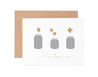 Boxed Cards - Mason Jar Happy Birthday Seeded Letterpress Greeting Cards - Boxed Set | Birthday Cards | Happy Birthday