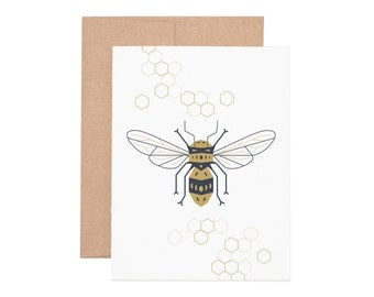 Boxed Cards - Honeybee Letterpress Greeting Cards - Boxed Set | Blank Cards | Bumble Bee