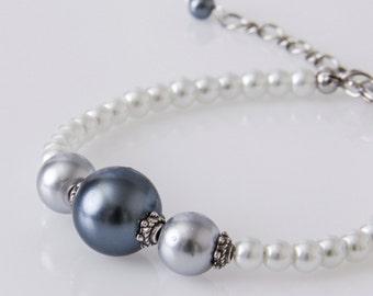 Charcoal Bracelet, Charcoal Pearl Bracelet, Grey Ombre Bridesmaid Bracelet, Bridal Bracelet, Bridemaids Favor, Gift