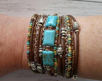 Unique Wrap Bracelet - Best Turquoise Bracelet - Modern Rustic Wrap - Best Womans Bracelet -BurningMan Style - Best Friend Wrap