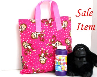 Pinky Monkey Tote / Kindergarten Tote / Book Bag / Overnight / Travel /Toy Storage / SALE / REDUCED