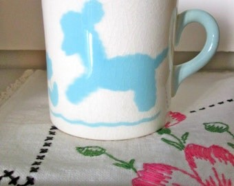 Vintage Baby Cup /Little Lamb Baby Mug /BABY BOY Gift / Art Pottery/ Artist Signed/Blue Lamb/Graphic/Baby Keepsake/ Baby Shower Gift