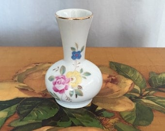 Bud Vase Small White Ceramic Vase Vintage Flower Gold Blue Pink Flowers 3.75in