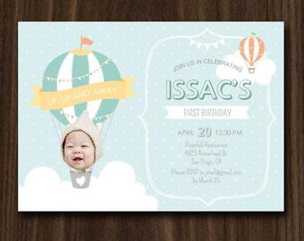 Hot Air Balloon Invitation, Pink Hot Air Balloon Invite, Custom Photo Invitation 5x7inch by MayDetails