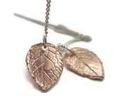 Rose Gold Threader Earrings Leaf Drop with Sterling Silver Chain Dainty Botanical Jewelry