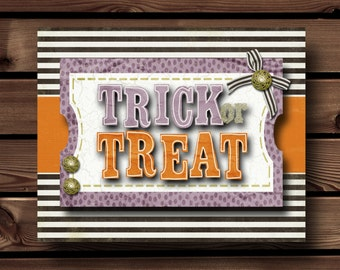 Halloween Decorations, Trick Or Treat Sign, Halloween Printables, Halloween Prints, Halloween Download, Halloween Party Decorations