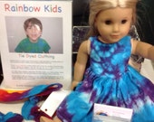 Tie Dyed American Girl Doll Empire Sundress in Turquoise and Purple Spiral IN STOCK and Ready to Ship