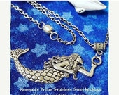 ON SALE Mermaid Silver Tone Charm and Stainless Steel Necklace