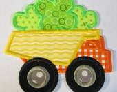 Clover Dump Truck - Iron On or Sew On Embroidered Custom Made Applique