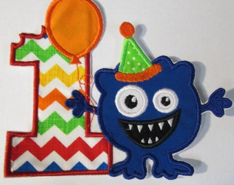 Little Monster Number One Birthday - New Styles - Iron On or Sew On Embroidered Applique - Ready To Ship in 3-7 Business Days