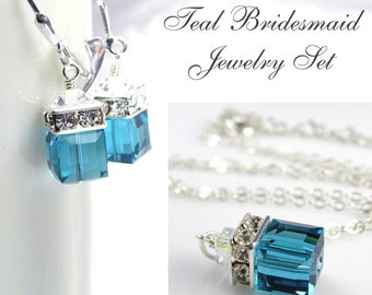 Teal Blue Crystal Jewelry Set, Swarovski Cube, Sterling Silver, Bridesmaid Necklace and Earrings, Wedding Blue Topaz December Birthday Gift
