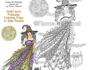 Windy Witch Fairy Tangles Printable Coloring Book Pages Adult Coloring Book Sheets by Norma J Burnell Halloween Witch, Owls and Cat