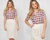 Vintage 70s PLAID Dress Short Sleeve SECRETARY Dress Preppy Printed Midi SHIRT Dress