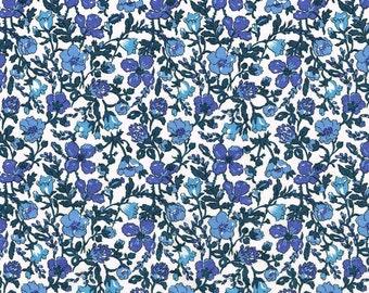 Liberty Tana Lawn Meadow A Blue Floral Fabric- Half Yard
