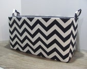 "XXL 18"" x 8"" x 10"" Fabric Organizer Basket - Storage Container - Toy Bucket - Home Decor- Nursery Room - Gift Basket -  Navy Blue Chevron"