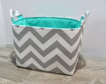 LARGE Fabric Organizer Basket Storage Container Bin Bucket Bag Diaper Diapers Holder Home Decor- Size Large - Grey Chevron Zigzag