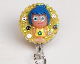 Pixar's Inside Out Little Joy ID Badge Reel - Retractable ID Badge Holder - Zipperedheart
