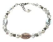 Faith, Hope, Love Bracelet, Swarovski Elements Pearls and Crystal Faith Hope Love Bracelet