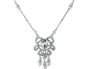 Rhinestone Pendant Simulated Pearl Bridal Necklace