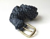 vintage Capezio Midnight Blue Braided Leather Belt / Made in Argentina