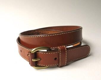 Leegin vintage Narrow Saddle Brown Leather Belt  / Made in U.S.A.