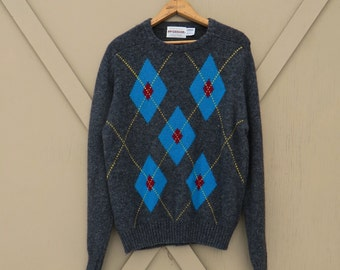80s vintage McGregor Marled Charcoal Grey, Blue and Red Argyle Woolen Sweater