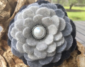 Gray Ombre Felted Wool Pin Flower with Pearl Button Center