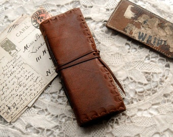 Field Notes - Brown Leather Notebook, Hand Stitched, Tea Stained Pages, OOAK