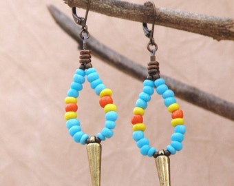 Spike Earrings with Turquoise Seed Beads